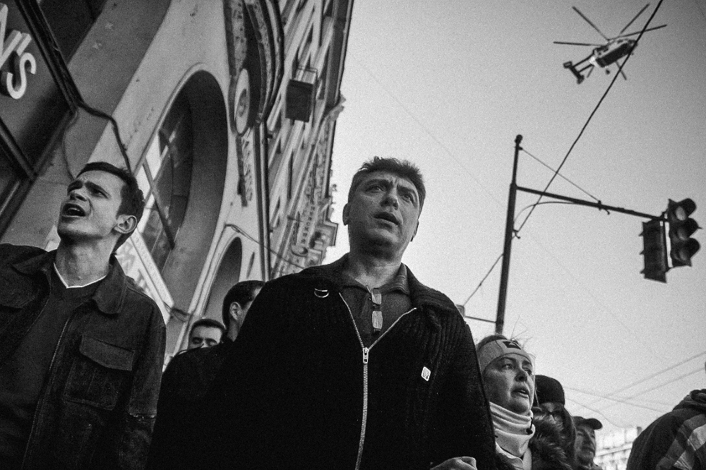 March 31, 2011. Protest rally in St. Petersburg in defence of the freedom of public assembly. A column of protesters led by Boris Nemtsov is headed for Smolny.  Four years later, Nemtsov was assassinated on Bolshoy Moskvoretsky Bridge, which is located right next to Moscow Kremlin.